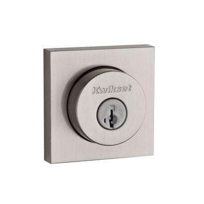 159 Series Square Contemporary Double Cylinder Satin Nickel Deadbolt featuring SmartKey
