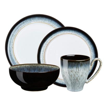 Halo 4-Piece Contemporary Blue Clay Dinnerware Set (Service for 1)