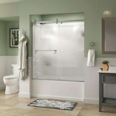 Portman 60 in. x 58-3/4 in. Semi-Frameless Contemporary Sliding Bathtub Door in Chrome with Rain Glass