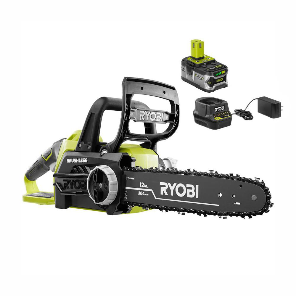 RYOBI RYOBI ONE+ 12 in. 18-Volt Brushless Lithium-Ion Electric Cordless Chainsaw - 4.0 Ah Battery and Charger Included