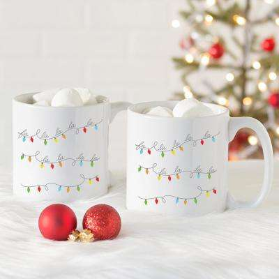 Fa La La 3.8 in. x 4.1 in. White Ceramic Large Coffee Mugs (Set of 2)