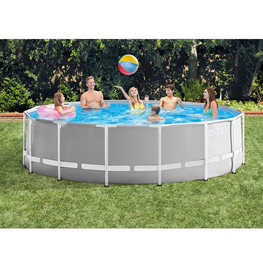 Prism 15 ft. x 4 ft. Round Metal Frame Pool Above Ground Swimming Pool Set  with Ladder, Cover and Maintenance Kit