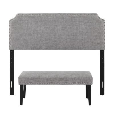 Gray Queen Size Upholstered Headboard and Bench Set