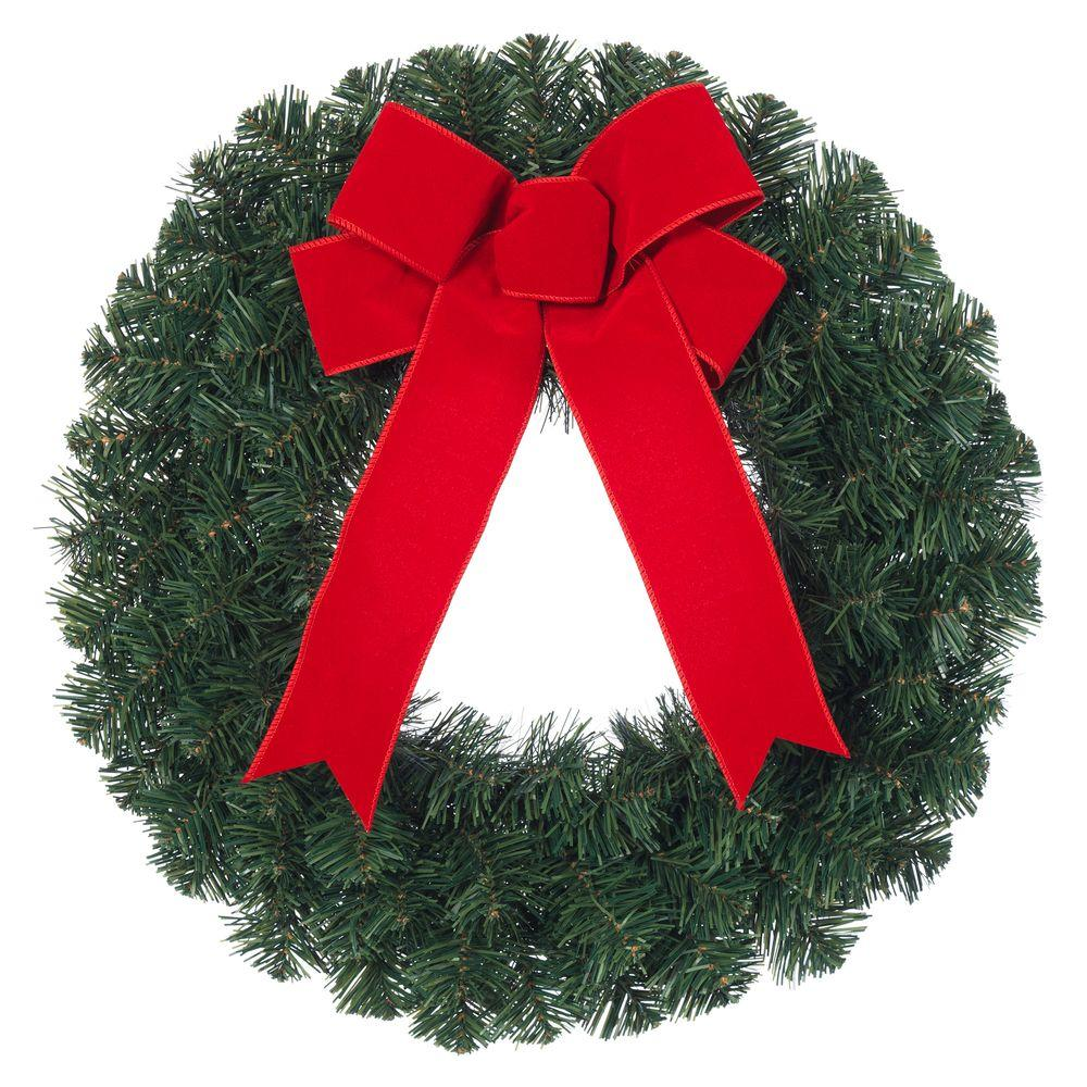 Christmas Ribbon Wreaths.Home Accents Holiday 20 In Noble Pine Artificial Wreath With Red Bow