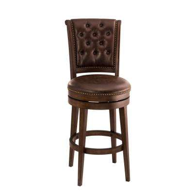 Chiswick 30 in. Brown Cherry Swivel Cushioned Bar Stool