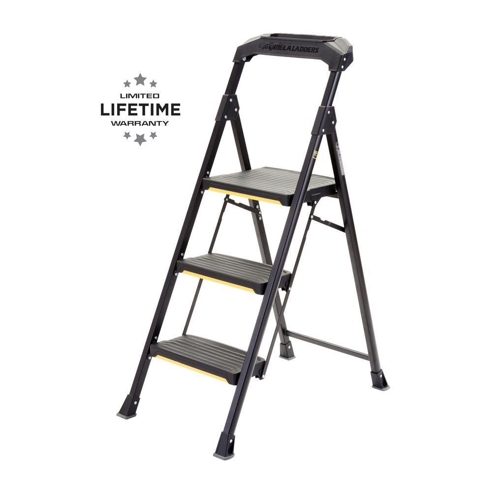 Gorilla Ladders Step Stool Ladder Steel Type II Duty Rating 225 lbs Capacity Ladders