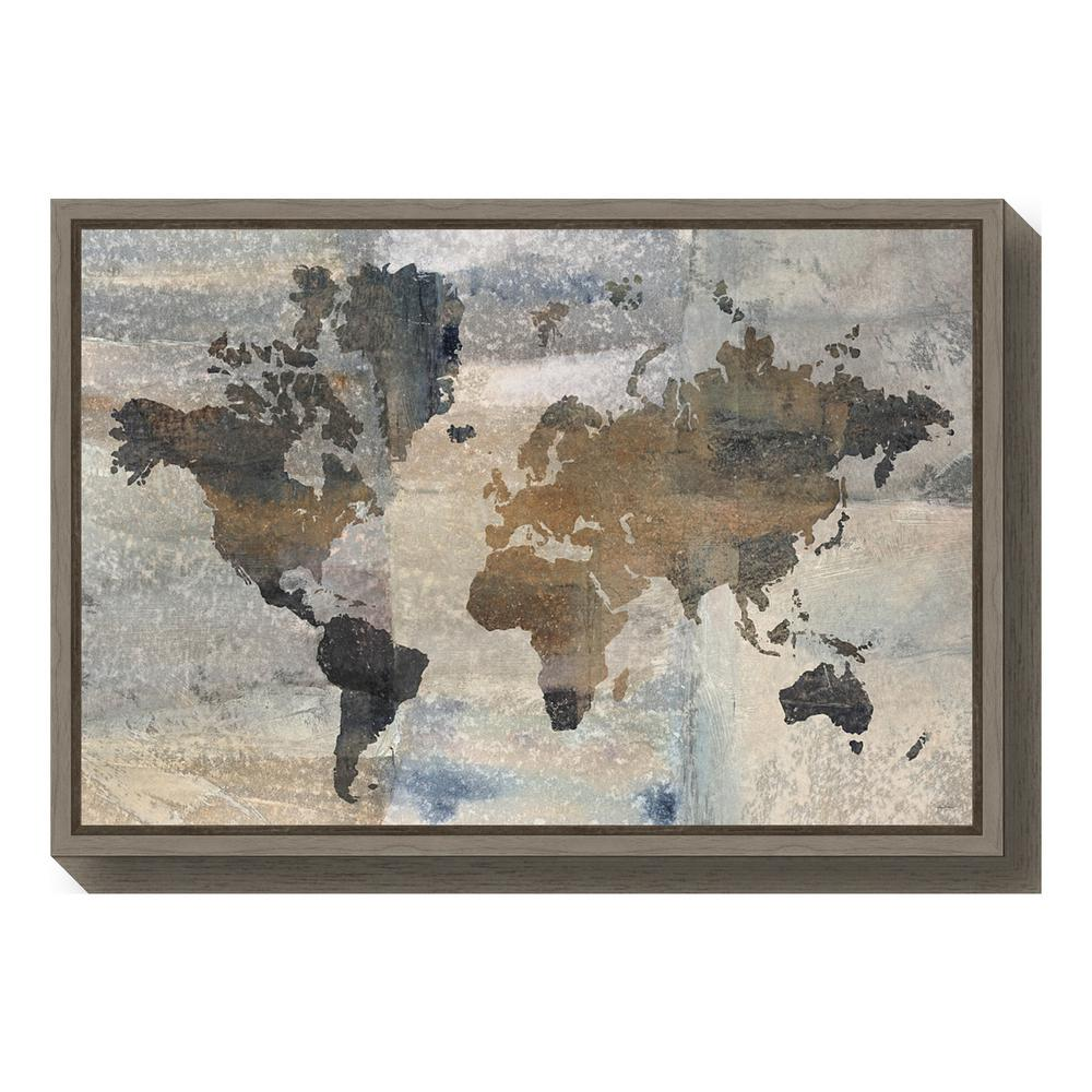 Amanti Art Stone World Map By Avery Tillmon Framed Canvas Wall - Grey world map canvas