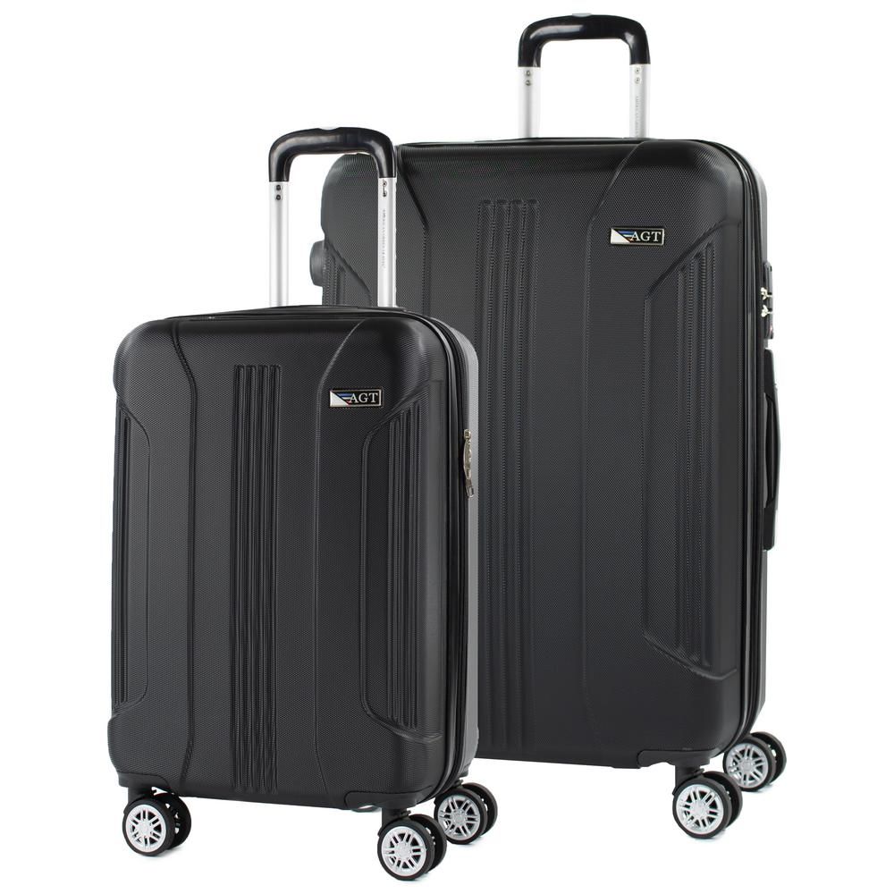 American Green Travel Denali 2-Piece (26 in./20 in.) Black Expandable Hardside Spinner Luggage with TSA Locks