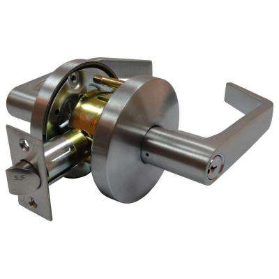 2-3/4 in. Satin Chrome Cylindrical Calypso Storeroom Lever with Latch