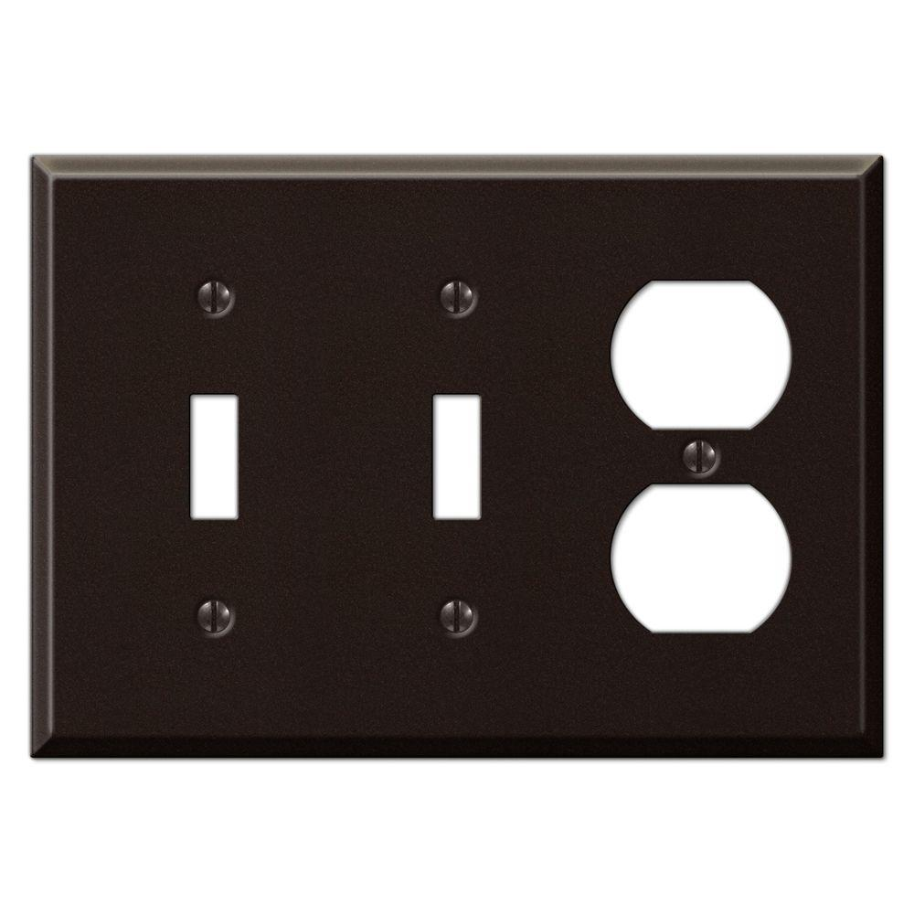 Creative Accents Steel 2 Toggle 1 Outlet Wall Plate - Antique Bronze