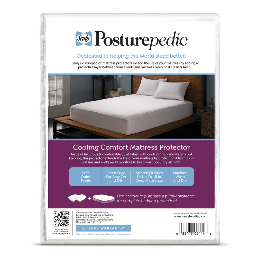 Natural Comfort Fitted Mattress Protector White Queen