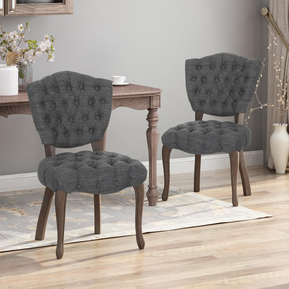 NOBLE HOUSE HOME FURNISH Crosswind Charcoal and Brown Wash Tufted Dining Chair (Set of 2), Charcoal. Brown Wash was $318.46 now $182.89 (43.0% off)