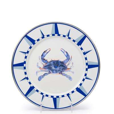 10.5 in. Blue Crab Enamelware Round Dinner Plate