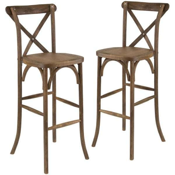 Dark Antique Wood Cross Back Barstools (Set of 2)