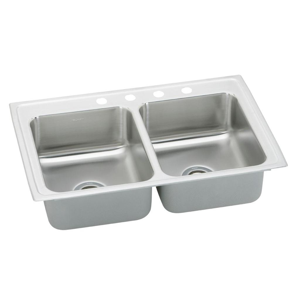 Elkay Pacemaker Drop-In Stainless Steel 33 in. 4-Hole Double Bowl ...