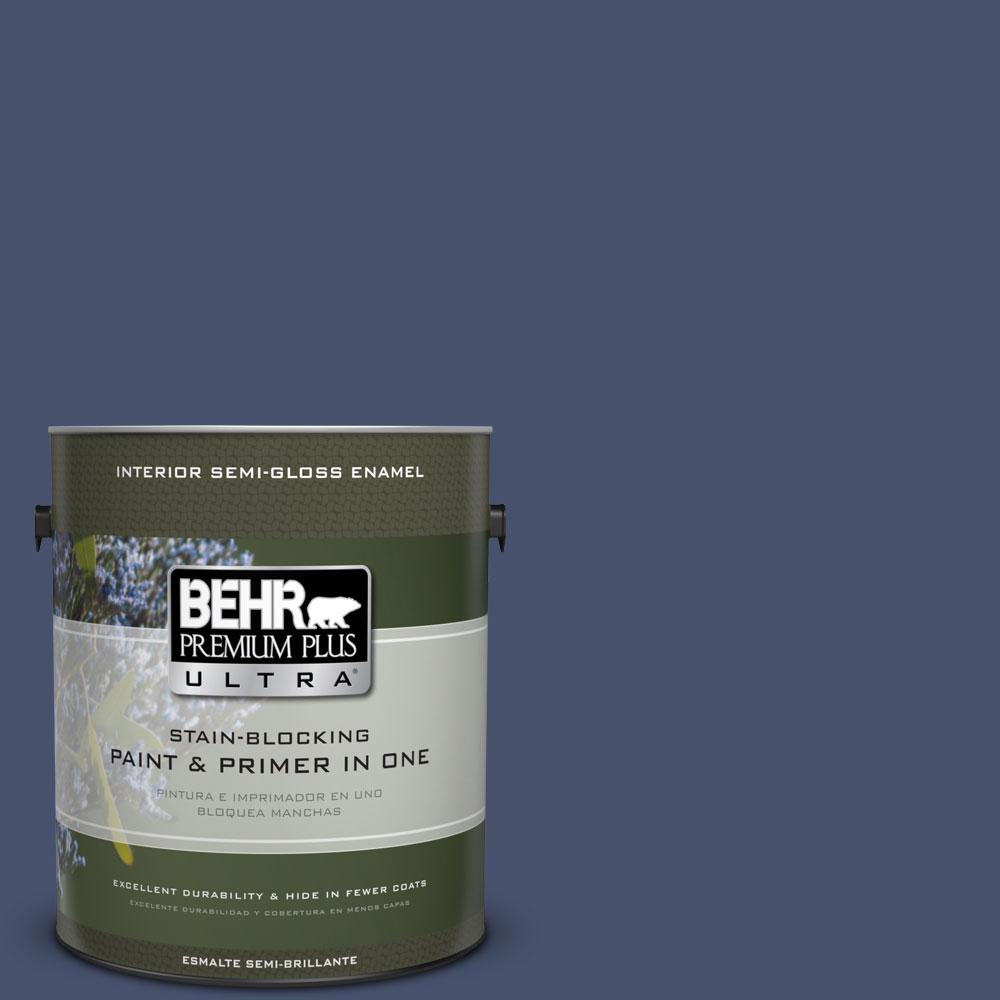 1 gal. #M530-7 Elegant Navy Semi-Gloss Enamel Interior Paint