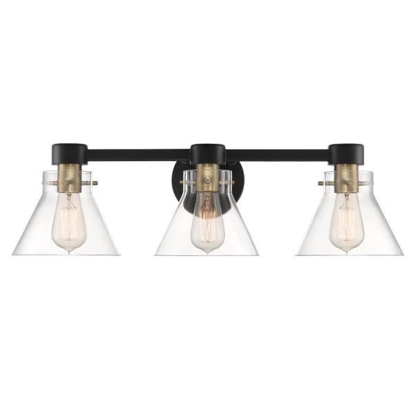Willow Creek 3-Light Matte Black Bath Bar Vanity Light