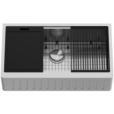Oxford Stainless Steel 36 in. Single Bowl Slotted Farmhouse Apron-Front Workstation Kitchen Sink with Accessories
