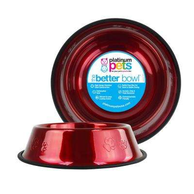 6.25 Cup Embossed Non-Tip Stainless Steel Dog Bowl, Candy Apple Red