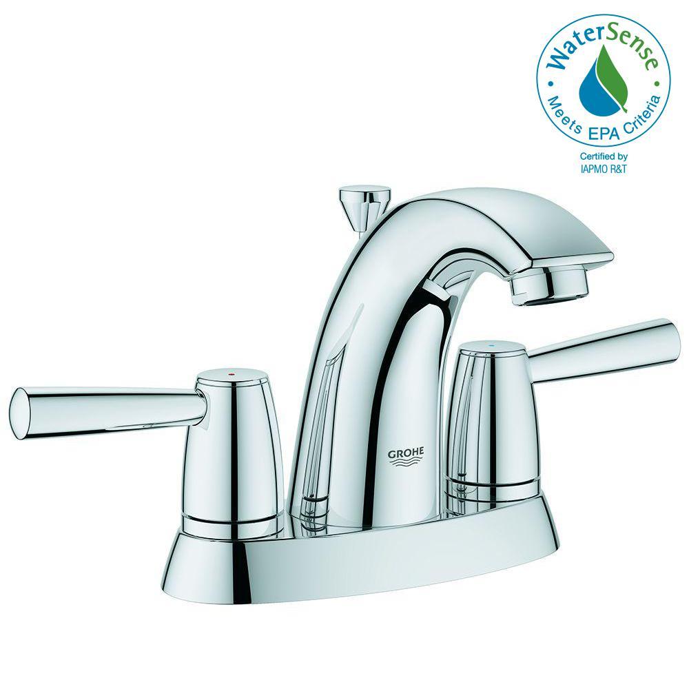GROHE Arden 4 in. Centerset 2-Handle Bathroom Faucet in StarLight ...