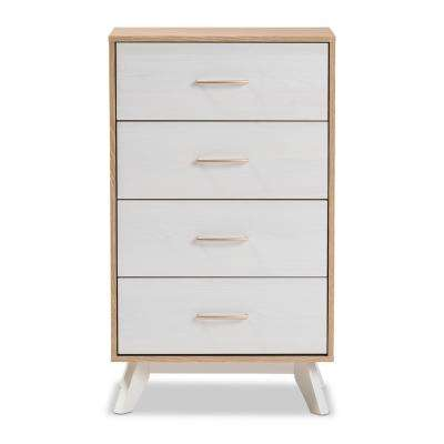 Helena 4-Drawer Natural/White Chest