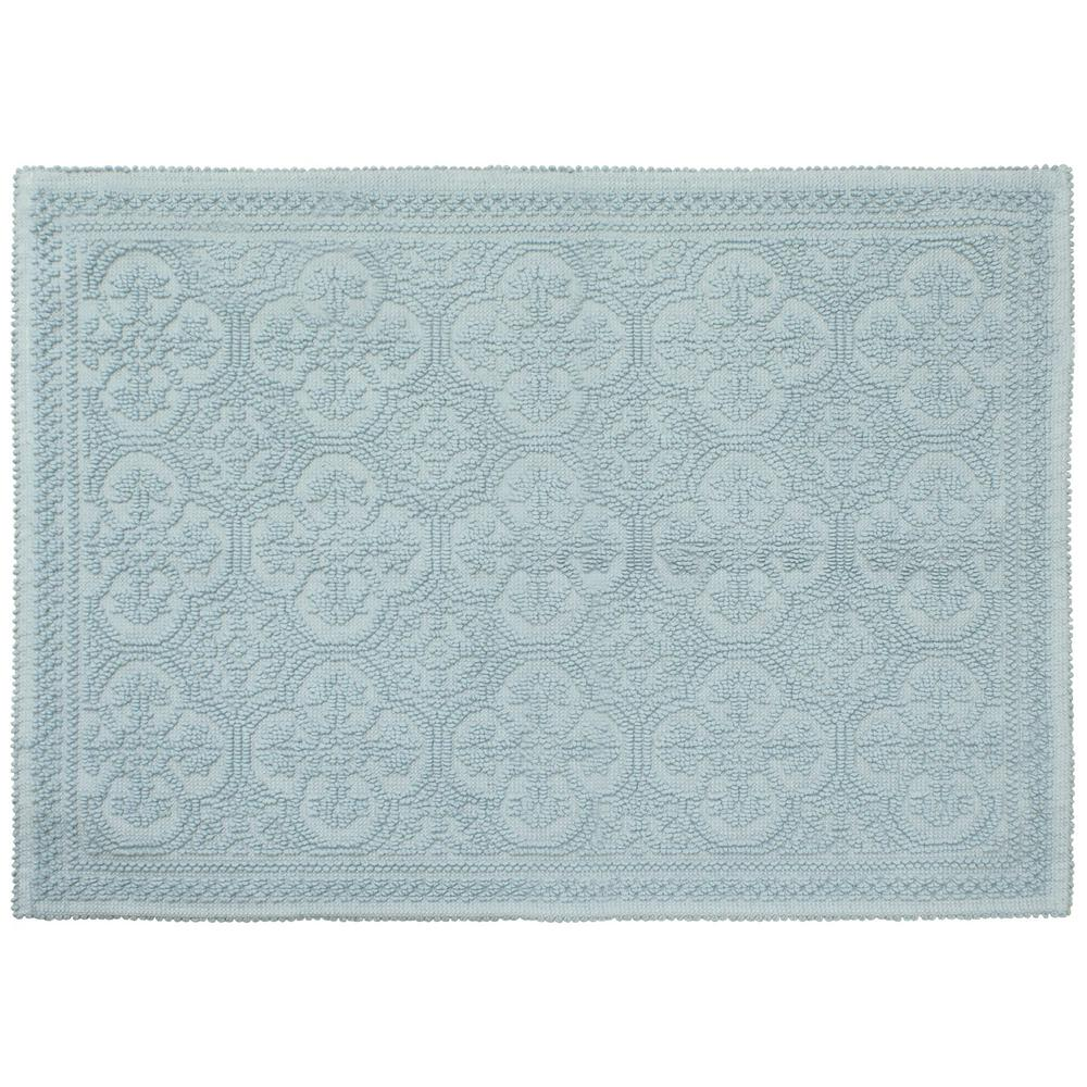 Laura Ashley Clementine Beaded Cotton 27 In X 45 In Bath Rug