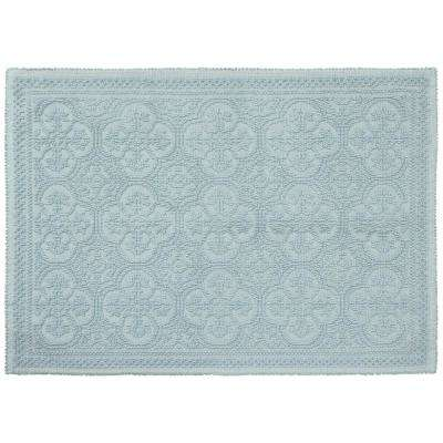 Clementine Beaded Cotton 27 in. x 45 in. Bath Rug, Light Blue