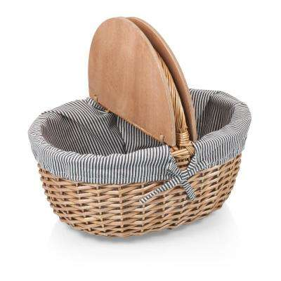 Country Blue Wood Picnic Basket