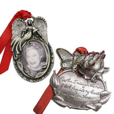 Angel Frame and Rose Memorial Ornament Set