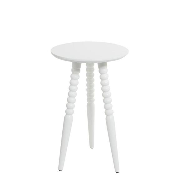 Allison White Turned Leg Accent Table