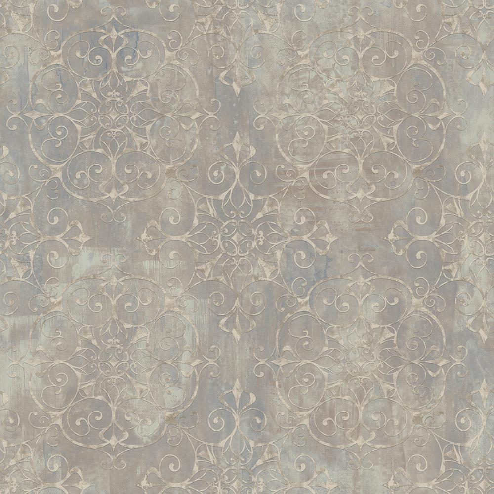 Chesapeake Aubrey Brown Crystal Medallion Texture