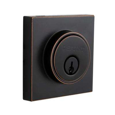 Contemporary Square Aged Bronze Single Cylinder Deadbolt
