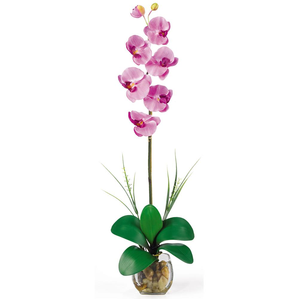 27 in. Single Phalaenopsis Liquid Illusion Silk Flower Arrangement in Mauve