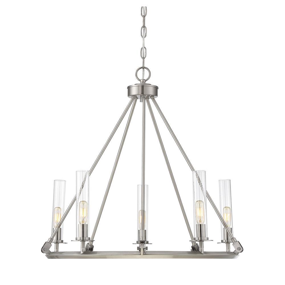 Filament design 5 light brushed pewter chandelier with clear cli filament design 5 light brushed pewter chandelier with clear aloadofball Image collections