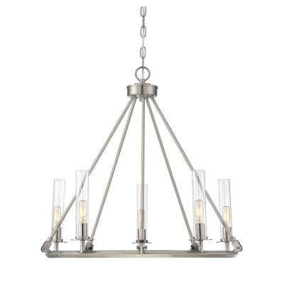 5-Light Brushed Pewter Chandelier with Clear
