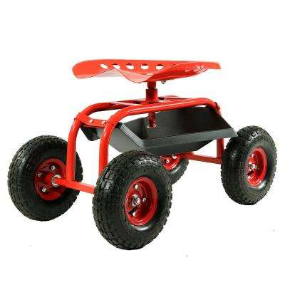 Red Steel Rolling Garden Cart with 360-Degree Swivel Seat and Tray
