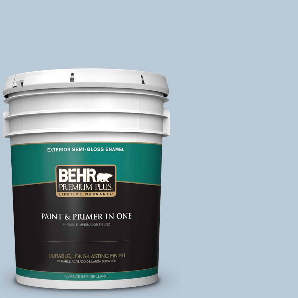 5 gal. #PPU14-15 Denim Light Semi-Gloss Enamel Exterior Paint