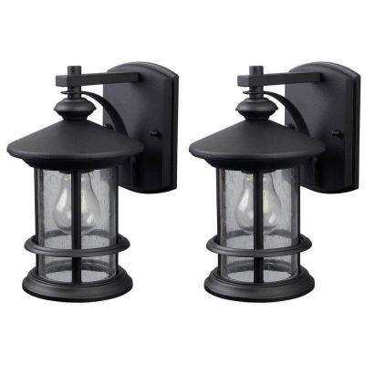 Ryder 1-Light Black Outdoor Wall Lantern with Seeded Glass (2-Pack)