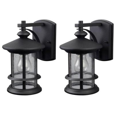 Ryder 1-Light Black Outdoor Wall Lantern Sconce with Seeded Glass (2-Pack)