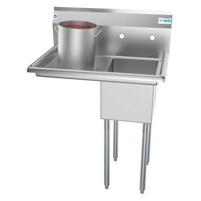 Freestanding Stainless Steel 31 in. 2-Hole Single Bowl Commercial Kitchen Sink
