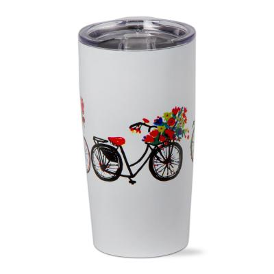 Bike Rider 18 oz. White Stainless Steel Tumbler