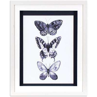 21.5 in. x 17.5 in. Monochrome Butterflies Printed Framed Wall Art