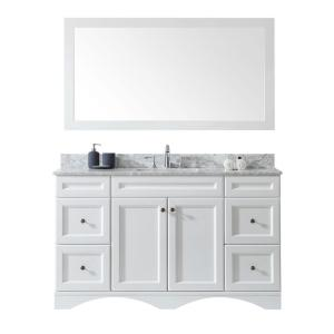 Virtu USA Talisa 60 inch Single Vanity in White Finish with Marble Vanity Top in White with White Basin and Faucet and... by Virtu USA