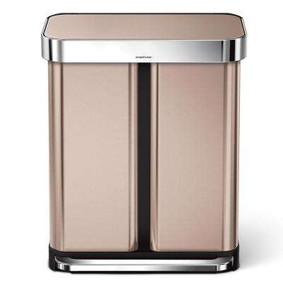 15.32 Gal. Dual Compartment Rose Gold Stainless Steel Rectangular Recycling Step Trash Can