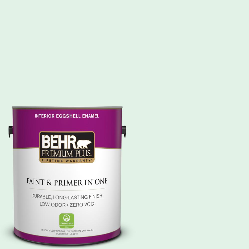 BEHR Premium Plus 1-gal. #480C-1 Light Mint Zero VOC Eggshell Enamel Interior Paint