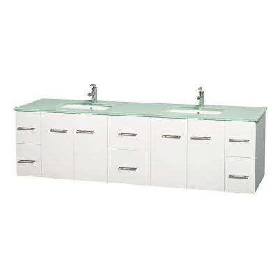 Centra 80 in. Double Vanity in White with Glass Vanity Top in Green and Under-Mount Square Sinks