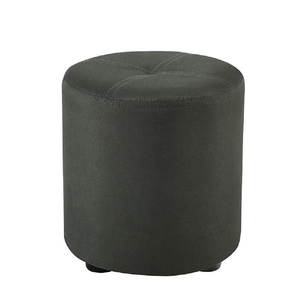 Pouf Gray Microfiber Round Ottoman