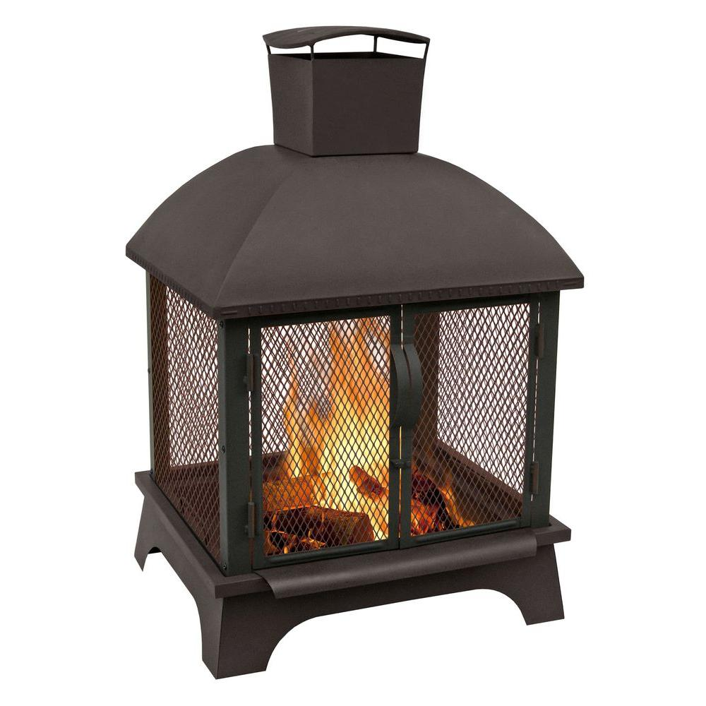 Landmann redford 26 in wood burning outdoor fireplace for Wood burning stove for screened porch