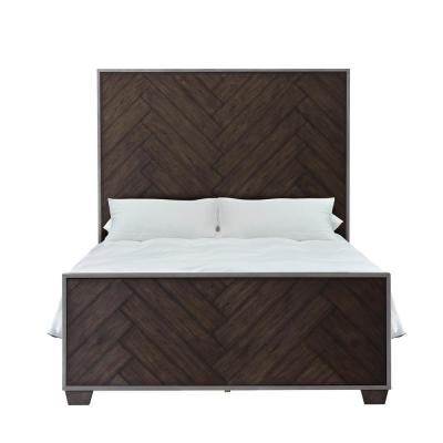 Modern Farmhouse Metal Frame Dark Oak King Bed