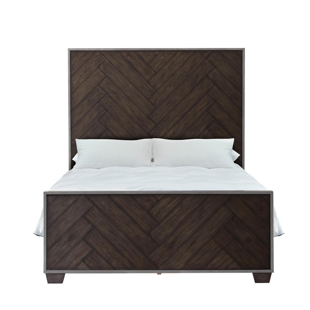 HomeFare Modern Farmhouse Metal Frame Dark Oak King Bed D192-BR-K2
